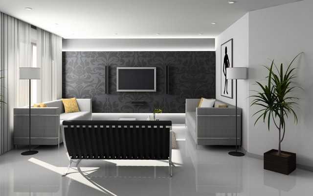 Attractive Blue Living Room Wall Paint Design. Black U0026 White Living Room Ideas