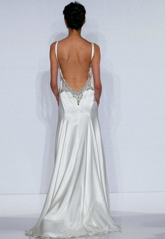 2-Strap Satin Backless Wedding Dress