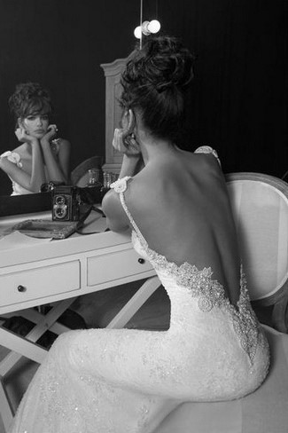 Backless Wedding Dress With 2-Strap Lace