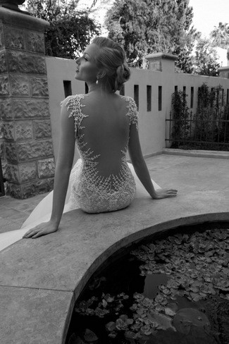 Backless Wedding Dress With Curved Lace