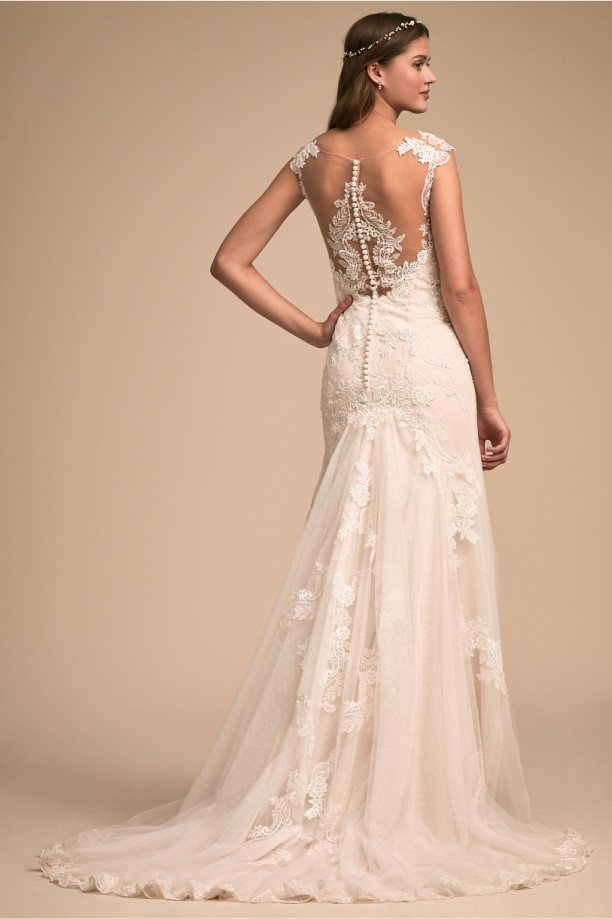 Backless Wedding Dress With Lace Motif