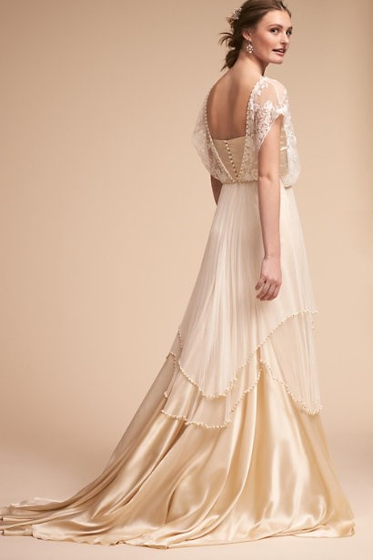 Backless Wedding Dress With Pearly Beads