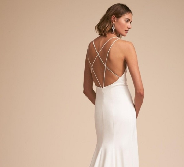 Backless Wedding Dresses With Crossed Straps