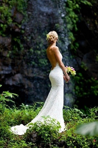 Embroidered Backless Wedding Dress