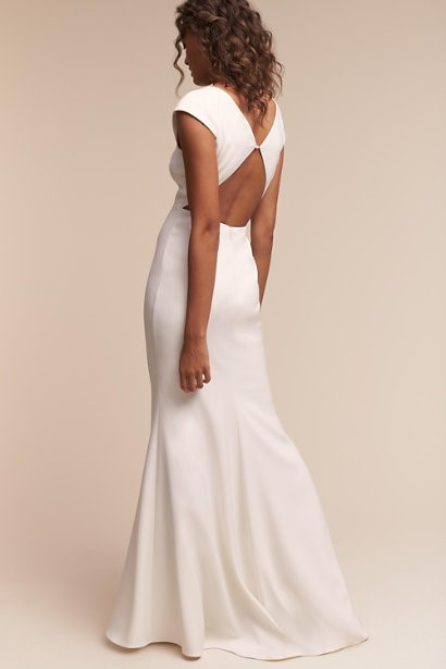 V-Neck Gown With Ivory Crepe