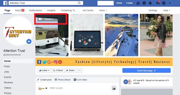 Add Cover on Picture of your Page