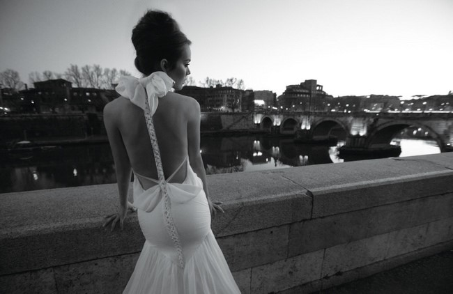 Backless Wedding Dress With Bow Detail