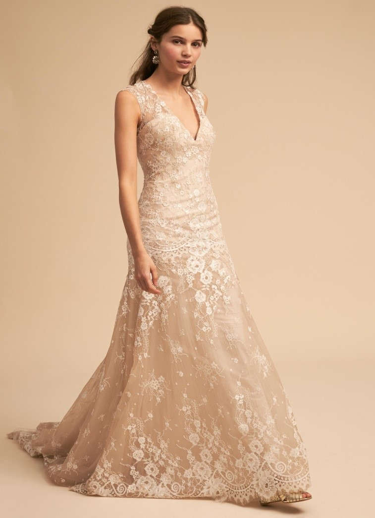 Champagne Fit-And-Flare Backless Gown