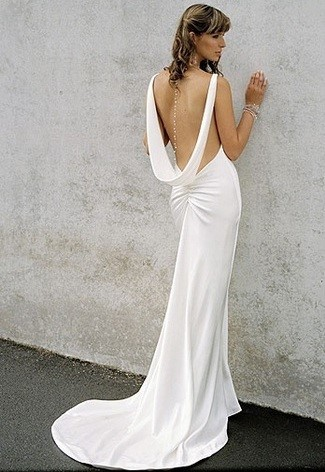 Plain Wedding Dress With Scoop Back