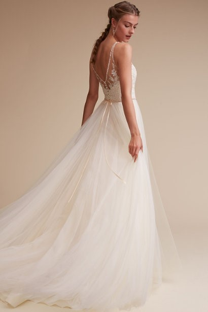 V-Neck Gown With Illusion Lace