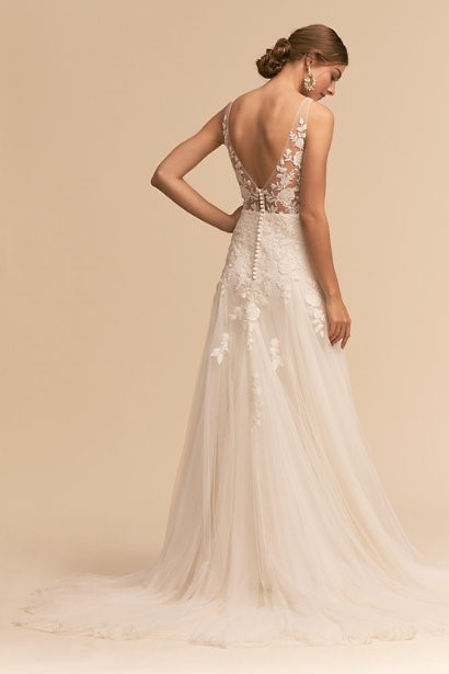 V-Neck Gown With Lace Bodice