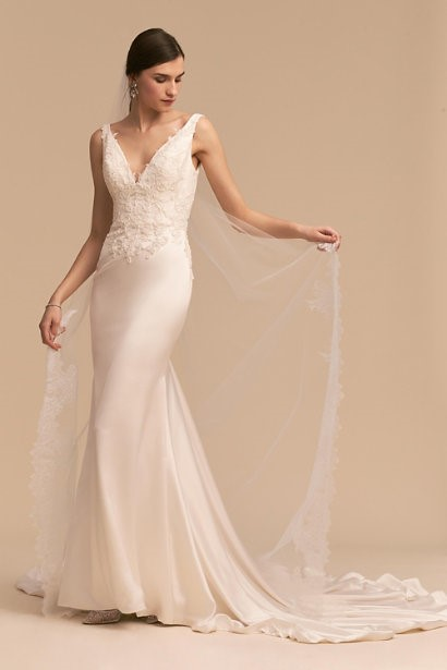 V-Neck Gown With Lace Detailing