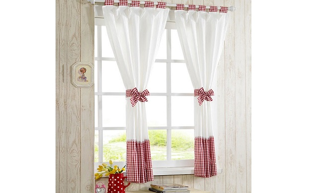 White and Texture Red Curtain Design Ideas