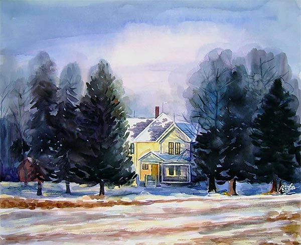 A lovely watercolor of a house showcasing our skill at turning photos to paintings.